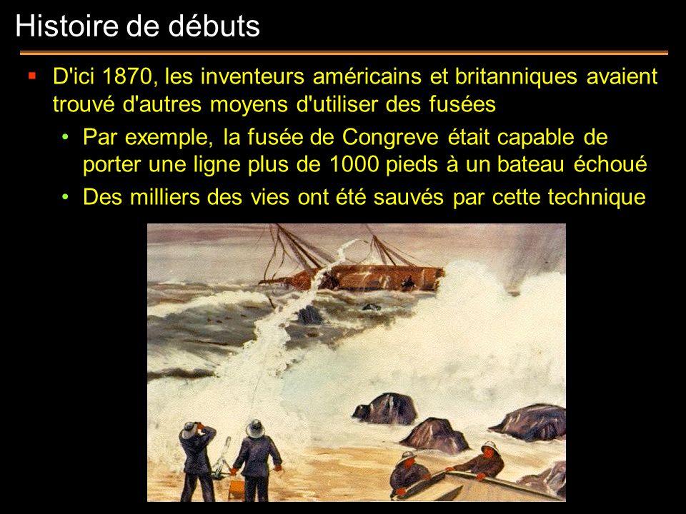 Histoire de débuts D ici 1870, les inventeurs américains et britanniques avaient trouvé d autres moyens d utiliser des fusées.