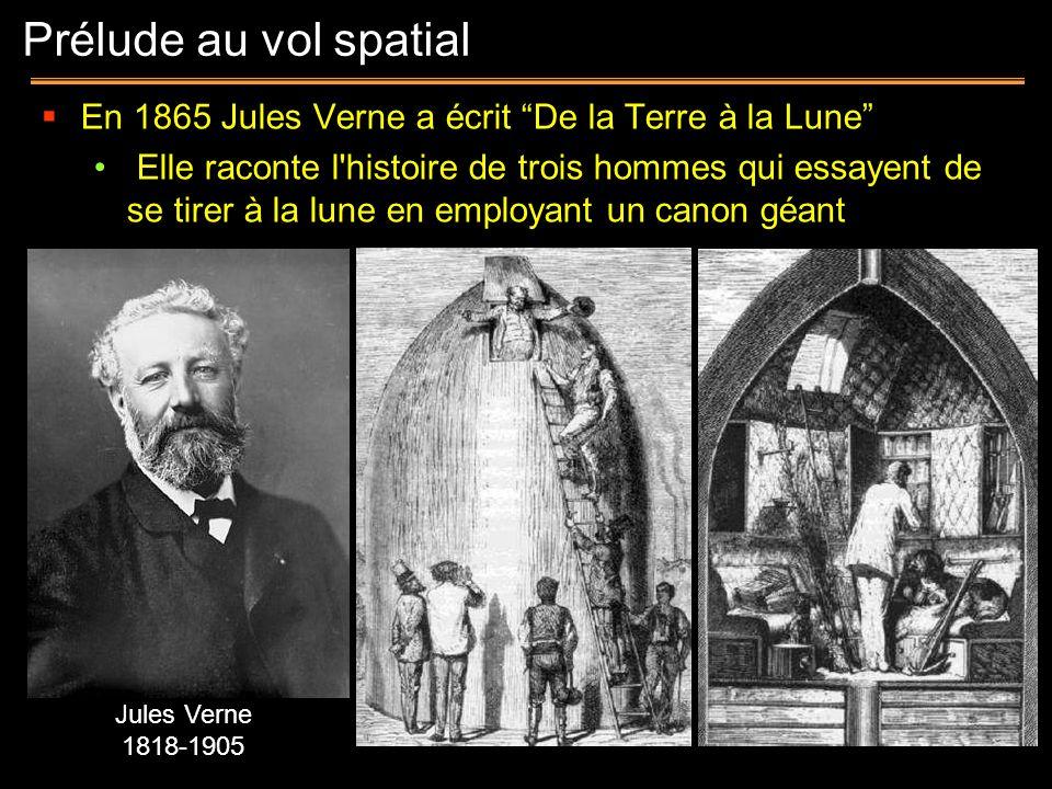 Prélude au vol spatial En 1865 Jules Verne a écrit De la Terre à la Lune