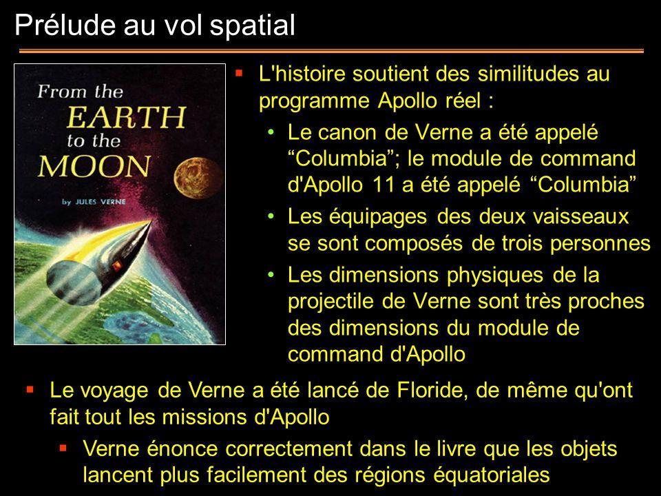 Prélude au vol spatialL histoire soutient des similitudes au programme Apollo réel :