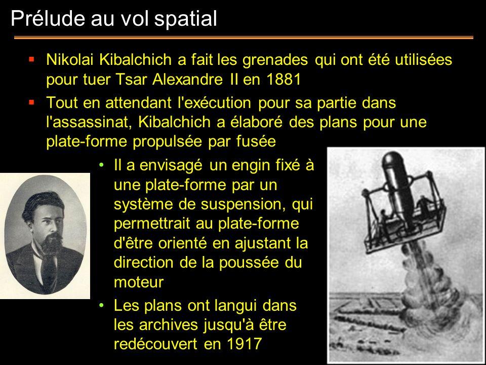 Prélude au vol spatial Nikolai Kibalchich a fait les grenades qui ont été utilisées pour tuer Tsar Alexandre II en 1881.