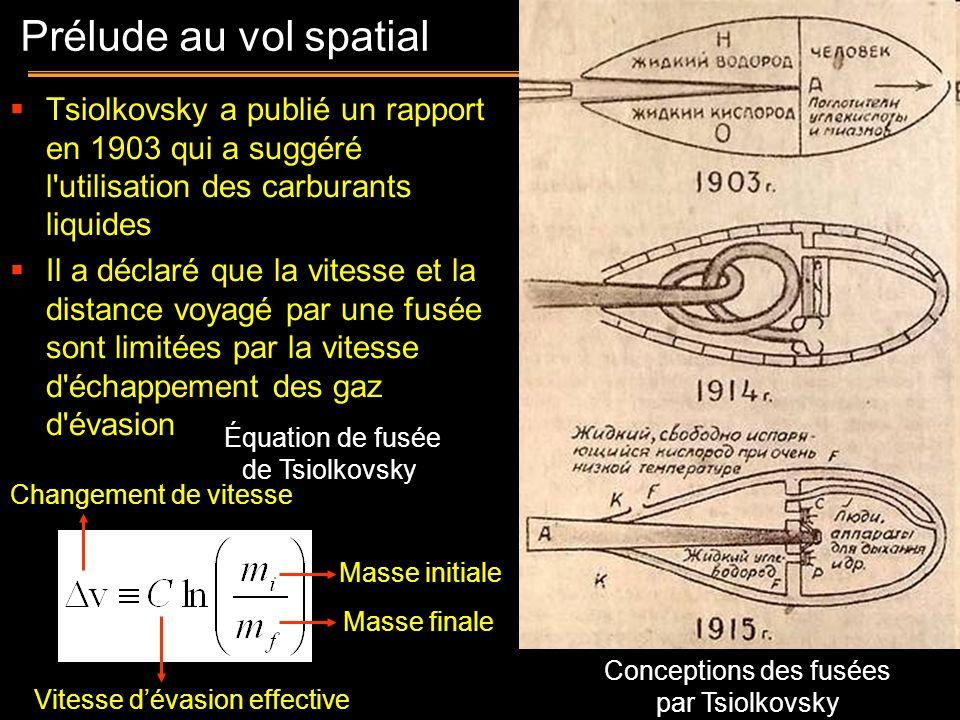 Prélude au vol spatialTsiolkovsky a publié un rapport en 1903 qui a suggéré l utilisation des carburants liquides.