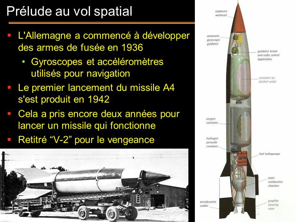 Prélude au vol spatial L Allemagne a commencé à développer des armes de fusée en 1936. Gyroscopes et accéléromètres utilisés pour navigation.