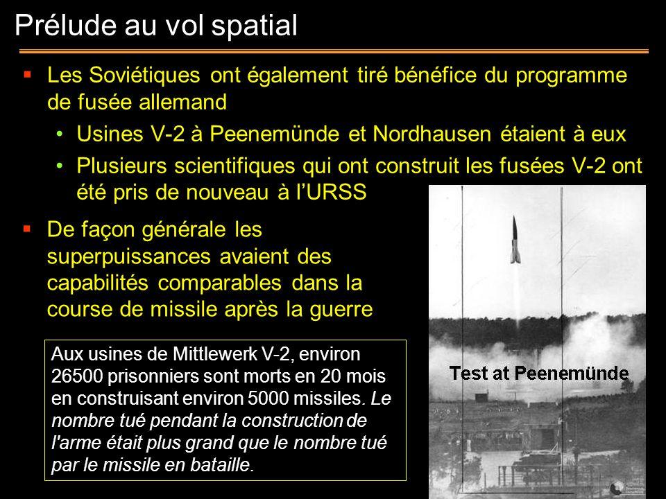 Prélude au vol spatial Les Soviétiques ont également tiré bénéfice du programme de fusée allemand.