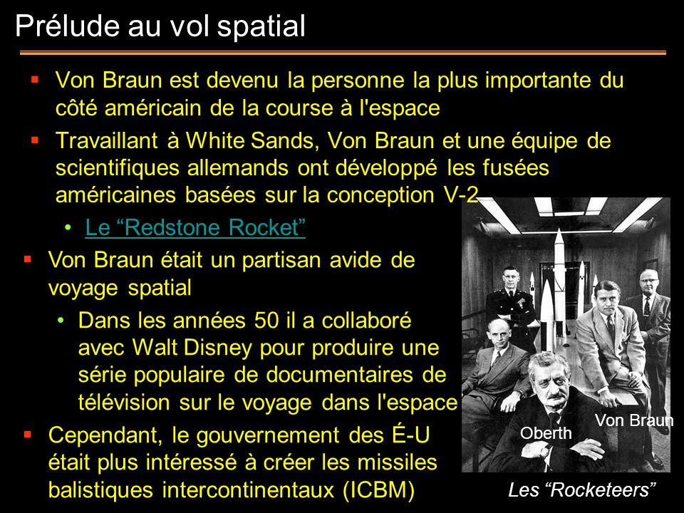 Prélude au vol spatialVon Braun est devenu la personne la plus importante du côté américain de la course à l espace.
