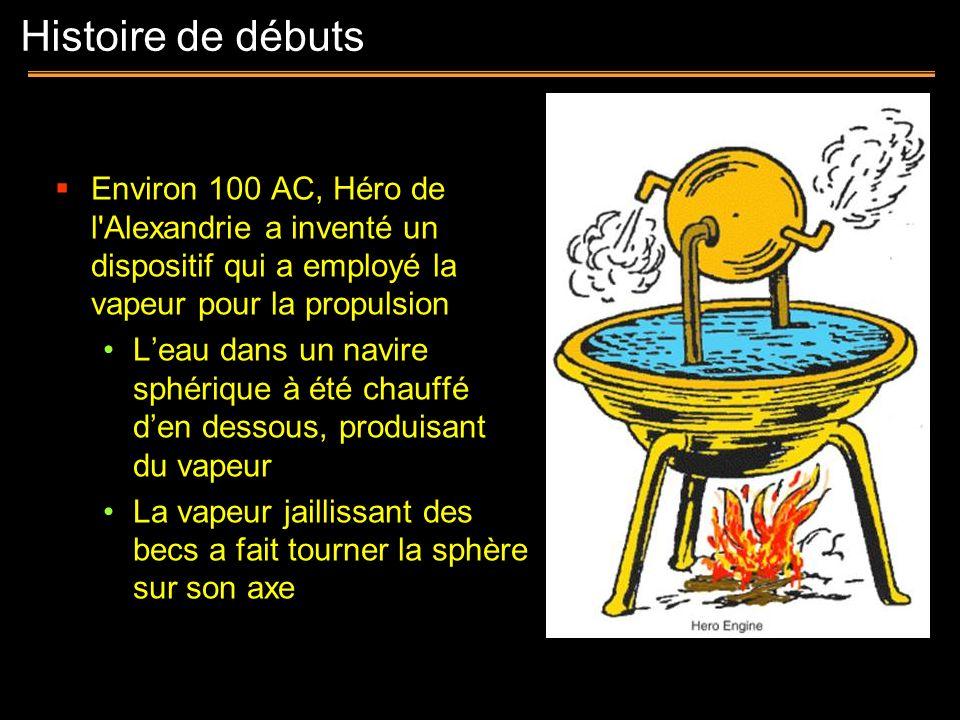 Histoire de débutsEnviron 100 AC, Héro de l Alexandrie a inventé un dispositif qui a employé la vapeur pour la propulsion.