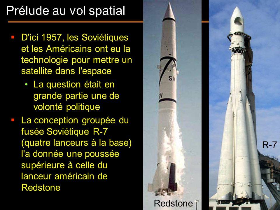 Prélude au vol spatial D ici 1957, les Soviétiques et les Américains ont eu la technologie pour mettre un satellite dans l espace.