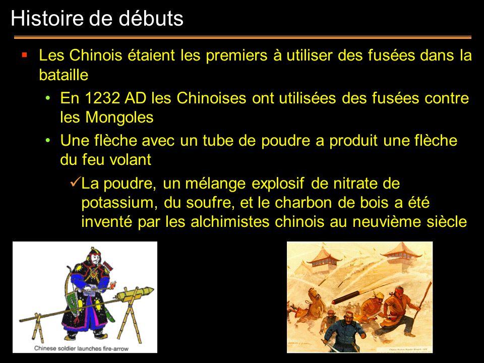 Histoire de débuts Les Chinois étaient les premiers à utiliser des fusées dans la bataille.