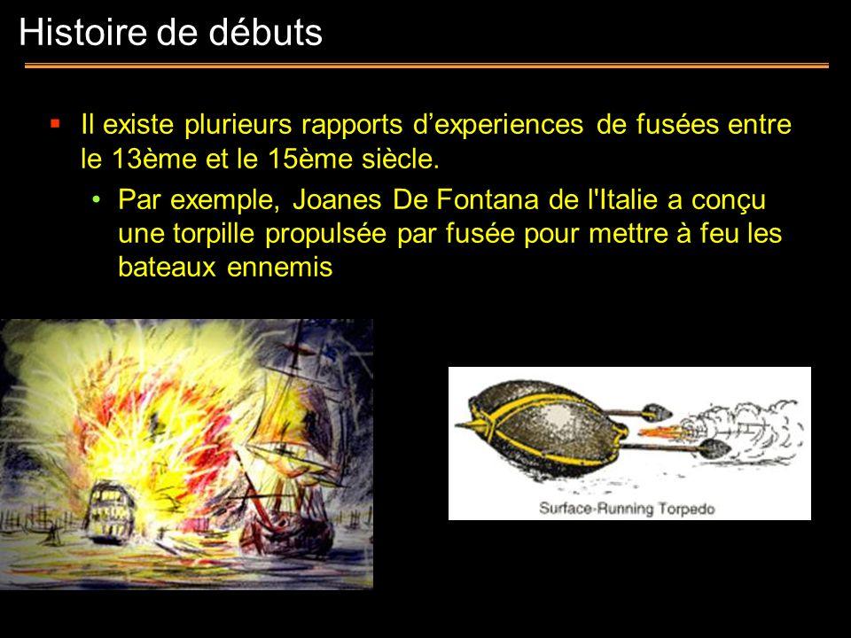 Histoire de débutsIl existe plurieurs rapports d'experiences de fusées entre le 13ème et le 15ème siècle.