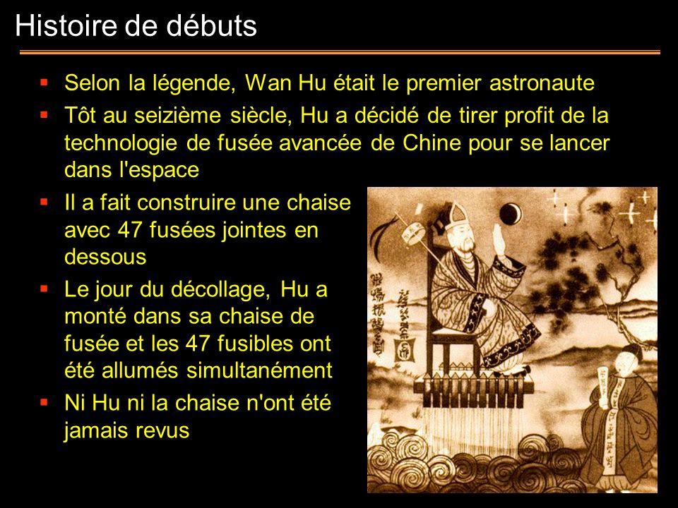 Histoire de débutsSelon la légende, Wan Hu était le premier astronaute.