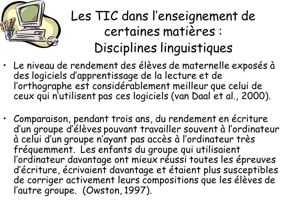 Les TIC dans l'enseignement de certaines matières : Disciplines linguistiques