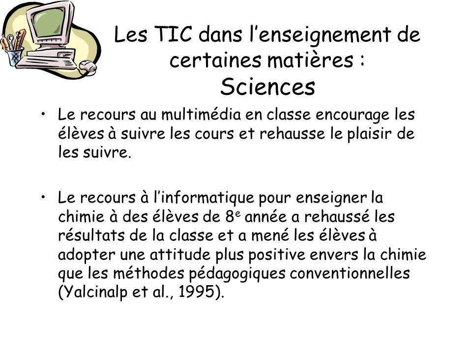 Les TIC dans l'enseignement de certaines matières : Sciences