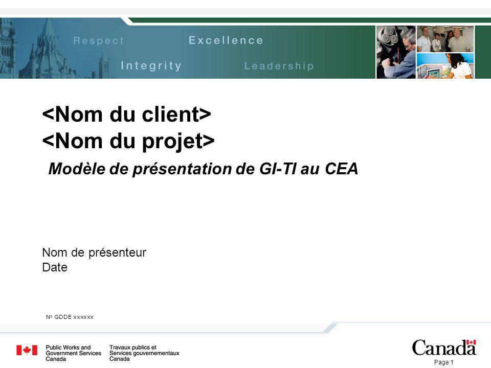 <Nom du client> <Nom du projet> Modèle de présentation de GI-TI au CEA