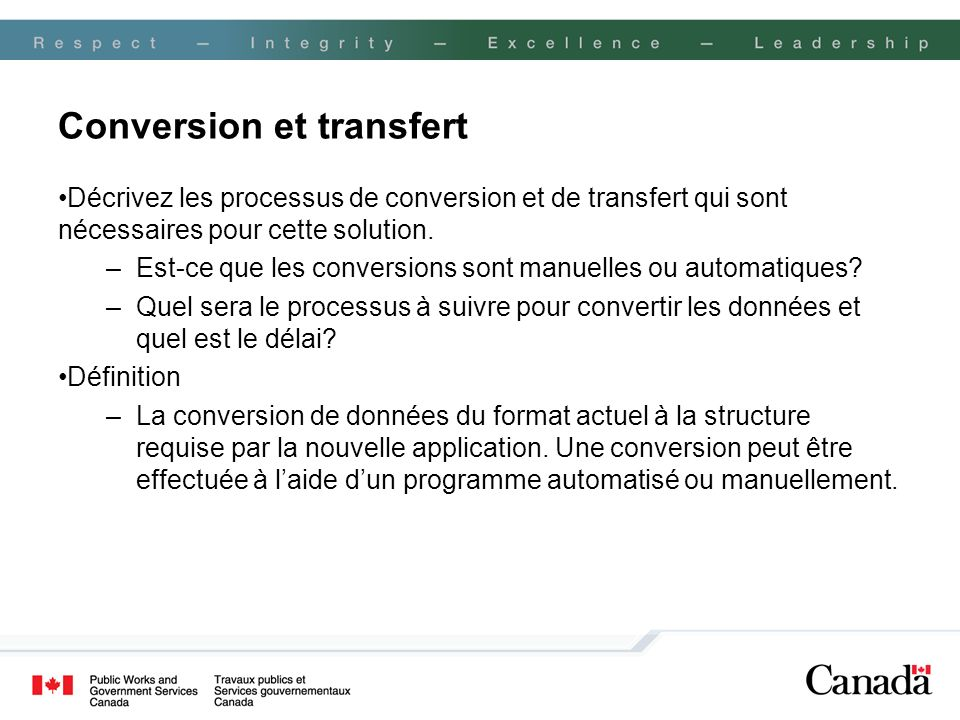 Conversion et transfert