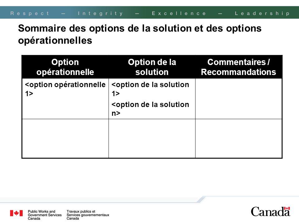 Sommaire des options de la solution et des options opérationnelles