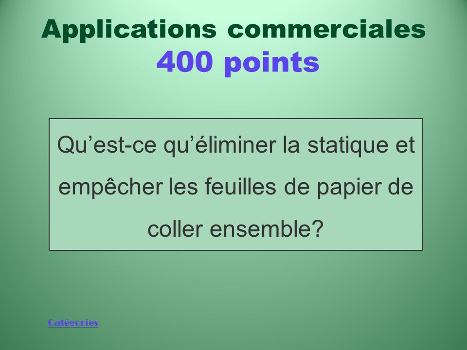 Applications commerciales 400 points