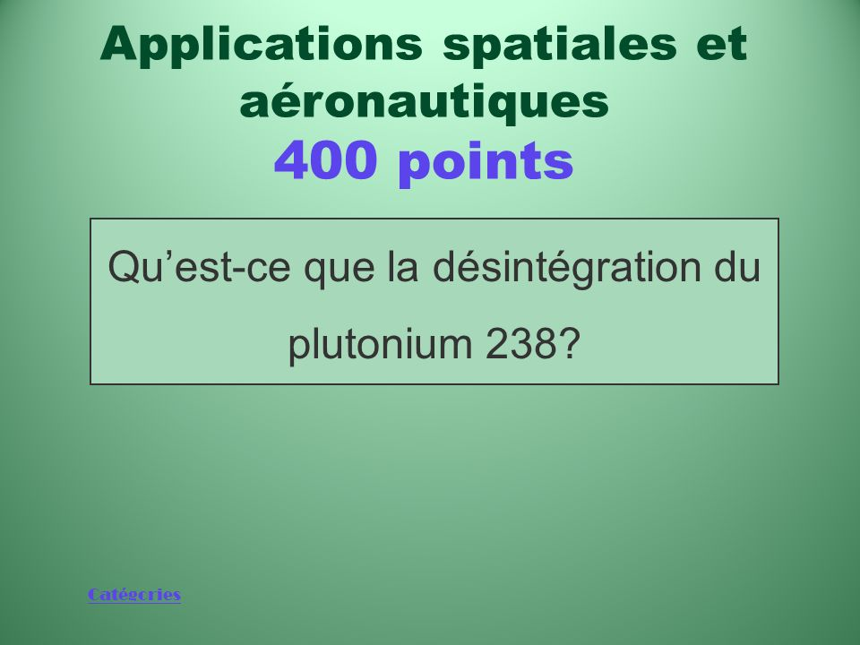 Applications spatiales et aéronautiques 400 points