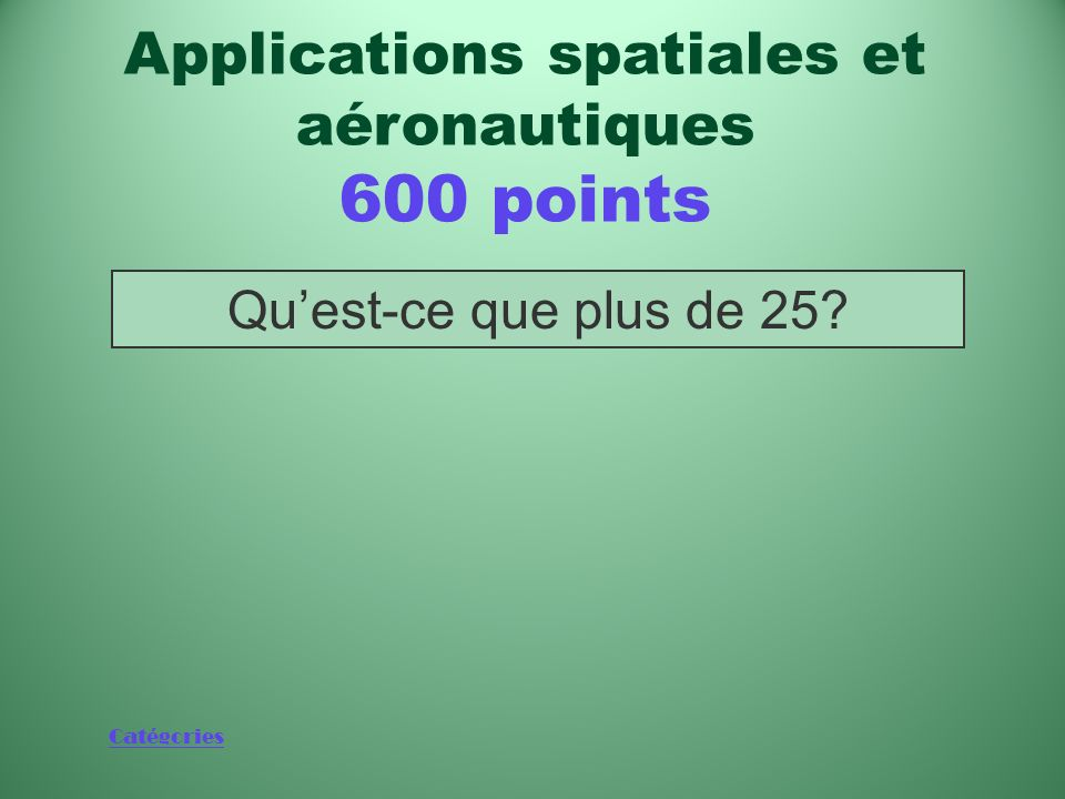 Applications spatiales et aéronautiques 600 points