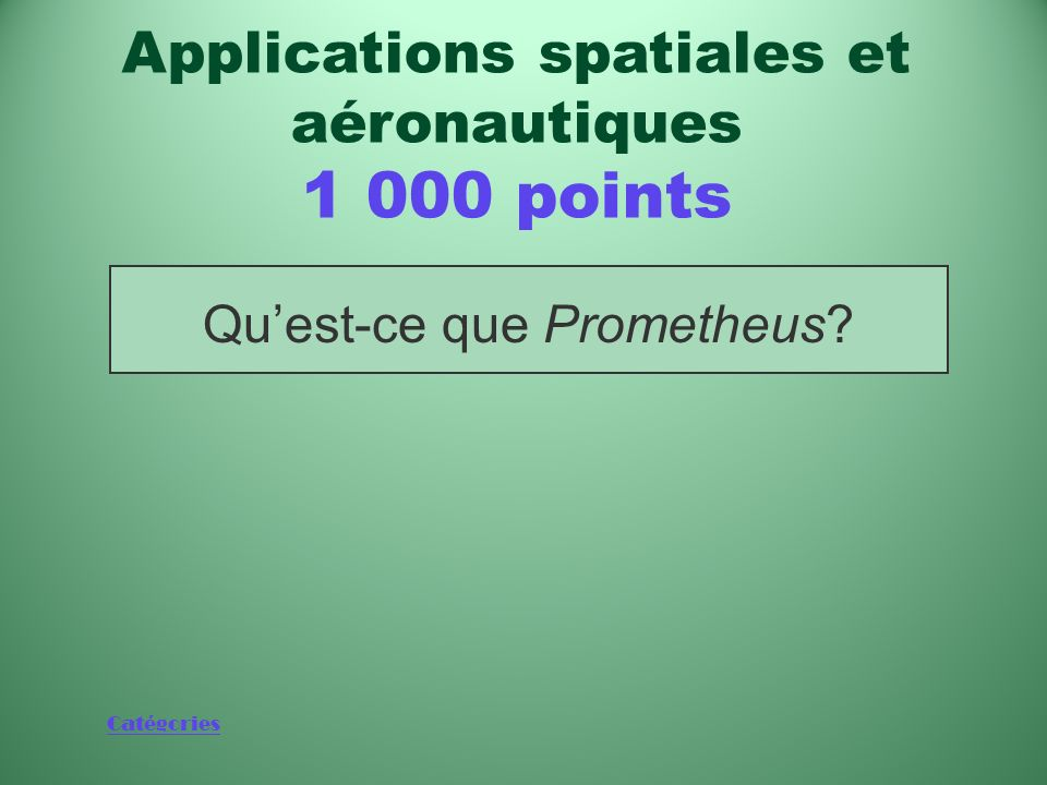 Applications spatiales et aéronautiques 1 000 points