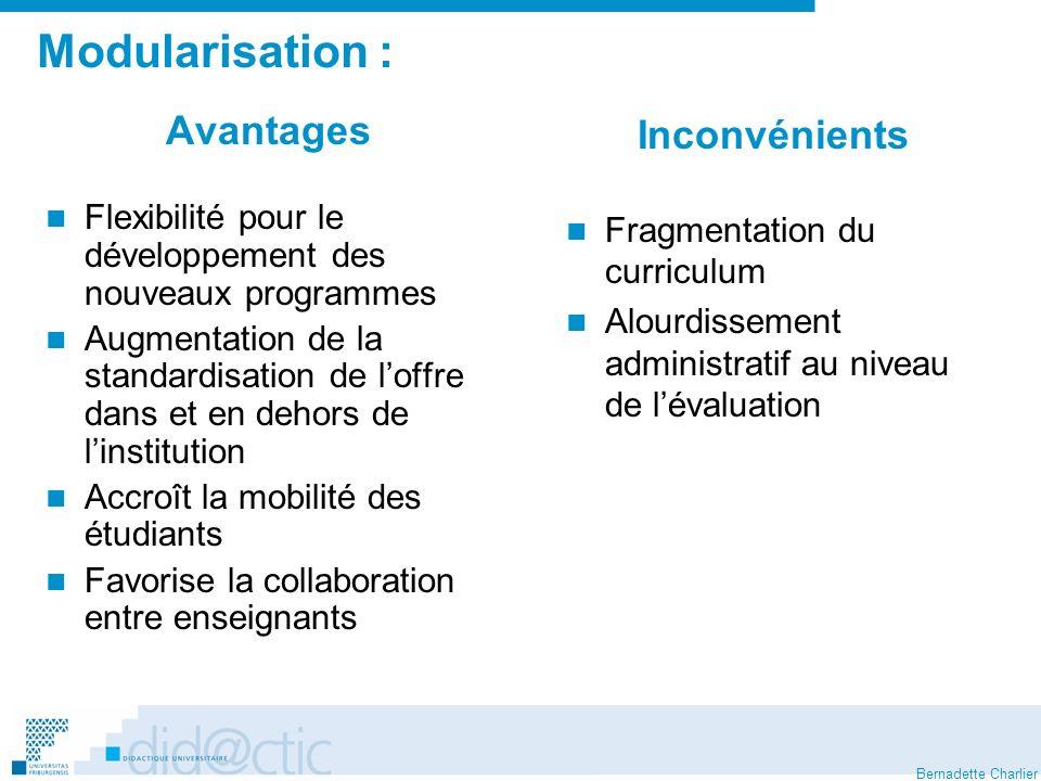 Modularisation : Avantages Inconvénients