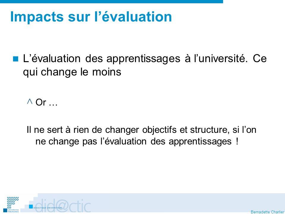 Impacts sur l'évaluation
