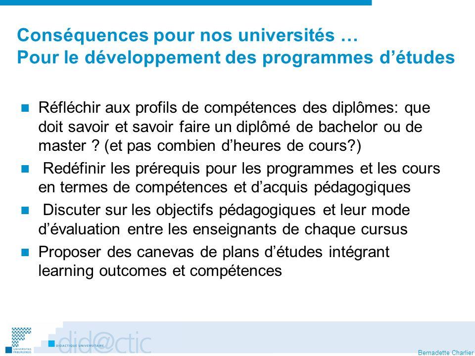 Conséquences pour nos universités … Pour le développement des programmes d'études