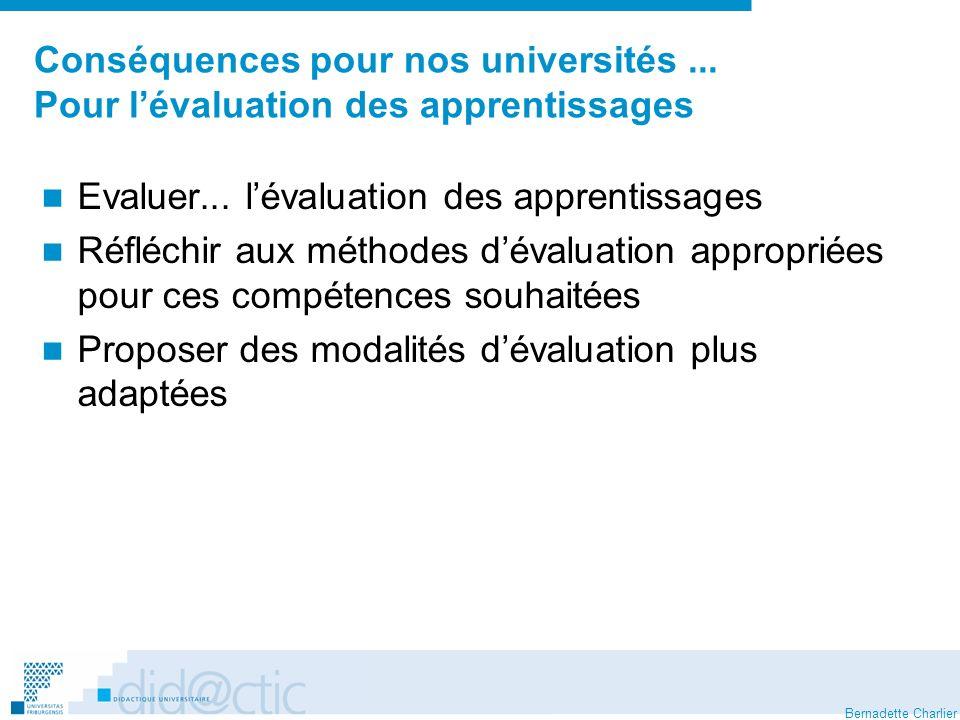 Conséquences pour nos universités ... Pour l'évaluation des apprentissages