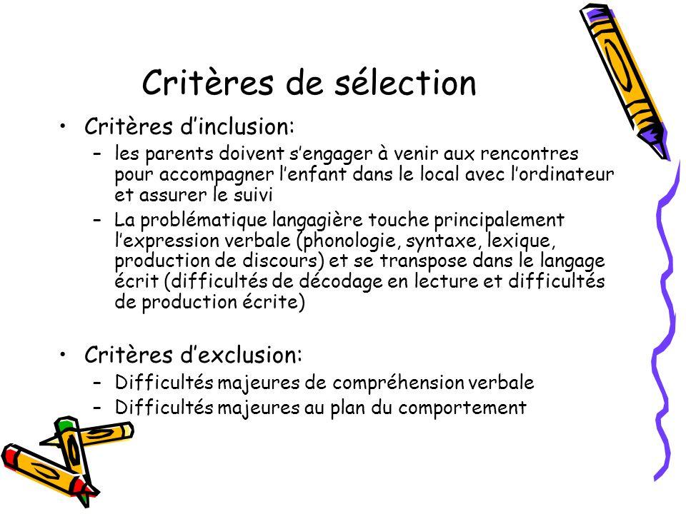 Critères de sélection Critères d'inclusion: Critères d'exclusion: