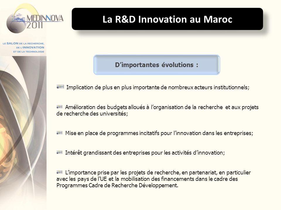 La R&D Innovation au Maroc D'importantes évolutions :
