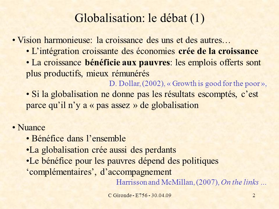Globalisation: le débat (1)
