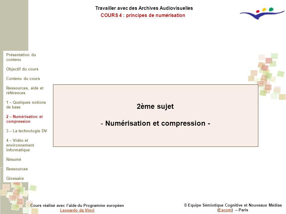 2ème sujet Numérisation et compression -