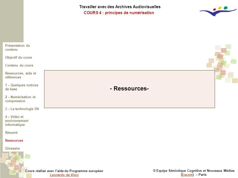 - Ressources- Travailler avec des Archives Audiovisuelles