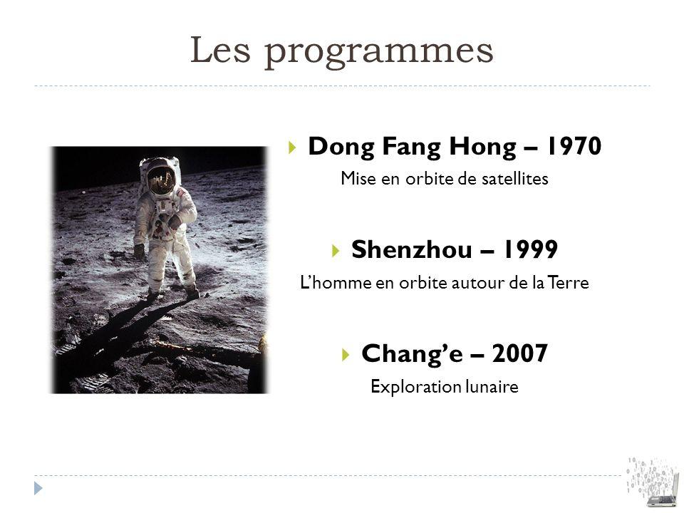 Les programmes Dong Fang Hong – 1970 Shenzhou – 1999 Chang'e – 2007