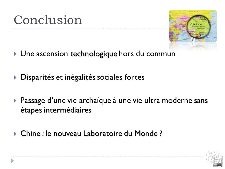 Conclusion Une ascension technologique hors du commun