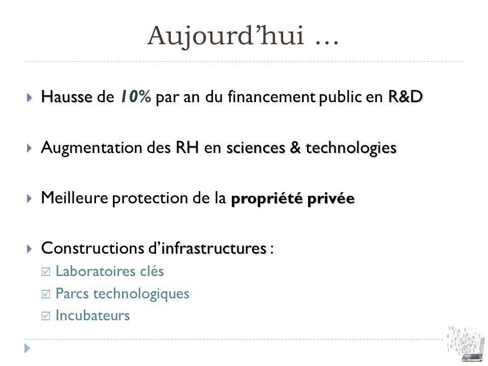 Aujourd'hui … Hausse de 10% par an du financement public en R&D