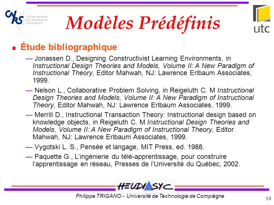 Modèles Prédéfinis Étude bibliographique