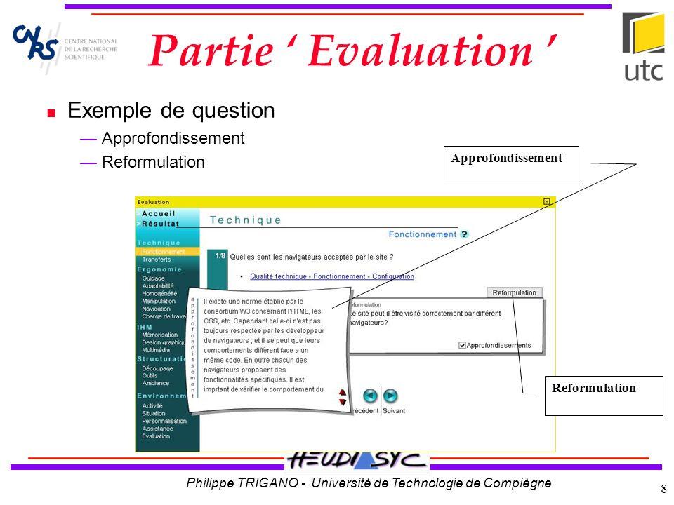 Partie ' Evaluation ' Exemple de question Approfondissement