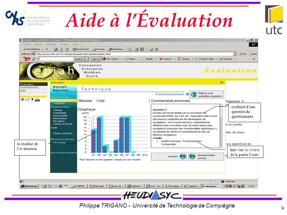Aide à l'Évaluation synthèse d'une question du questionnaire