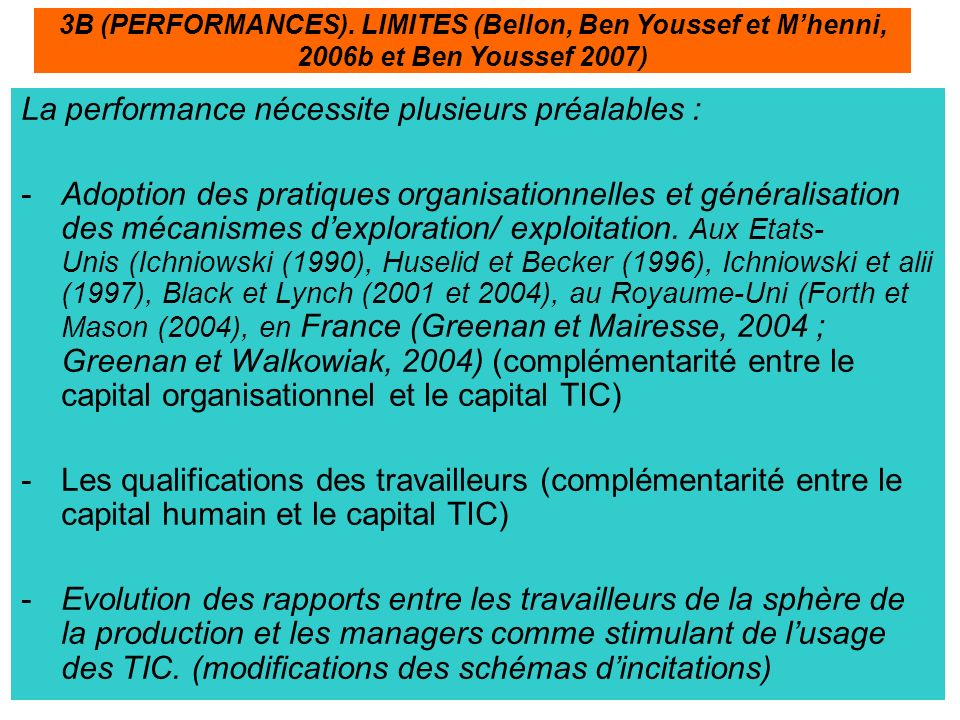 La performance nécessite plusieurs préalables :