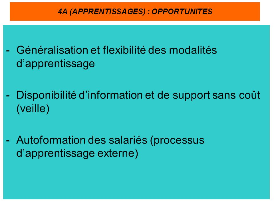 4A (APPRENTISSAGES) : OPPORTUNITES