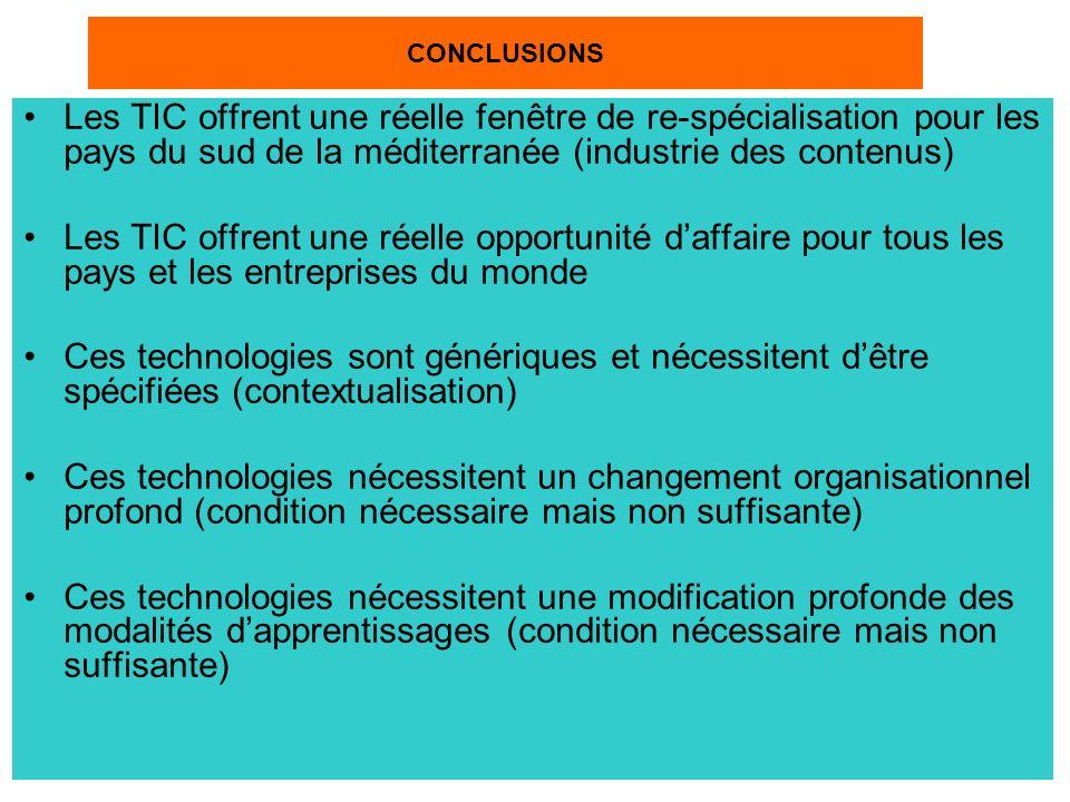 CONCLUSIONS Les TIC offrent une réelle fenêtre de re-spécialisation pour les pays du sud de la méditerranée (industrie des contenus)