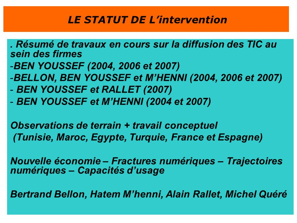 LE STATUT DE L'intervention