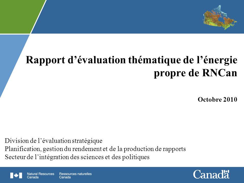 Rapport d'évaluation thématique de l'énergie propre de RNCan Octobre 2010