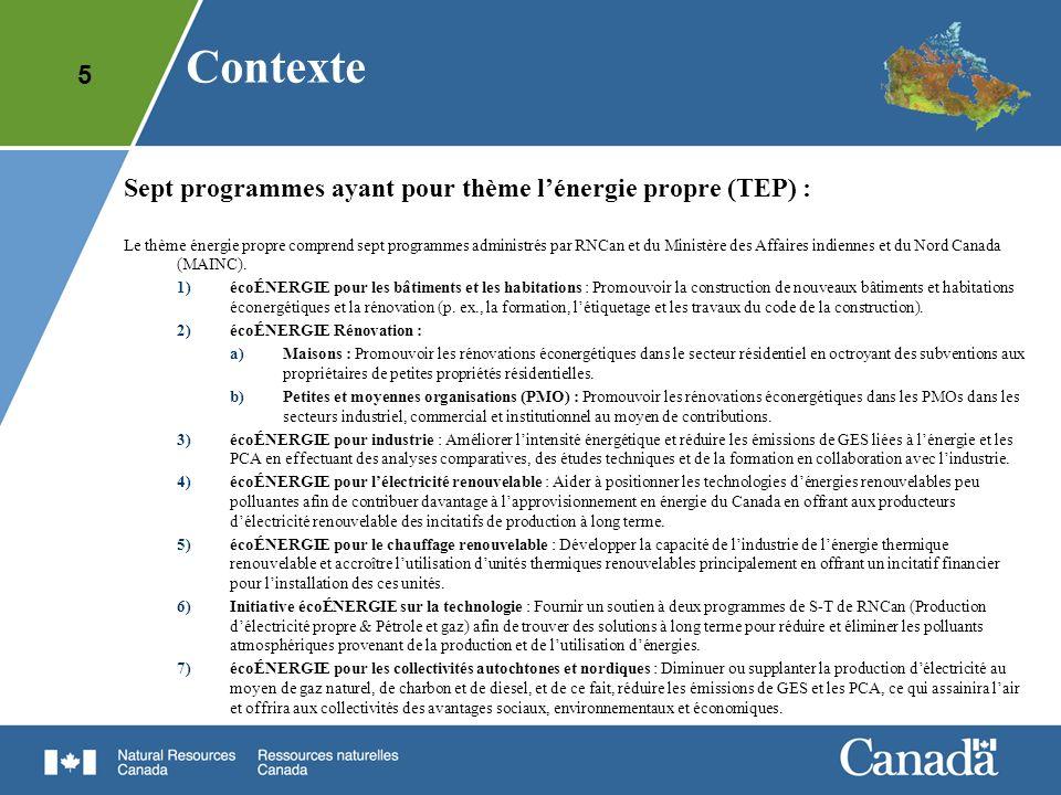 Contexte Sept programmes ayant pour thème l'énergie propre (TEP) :