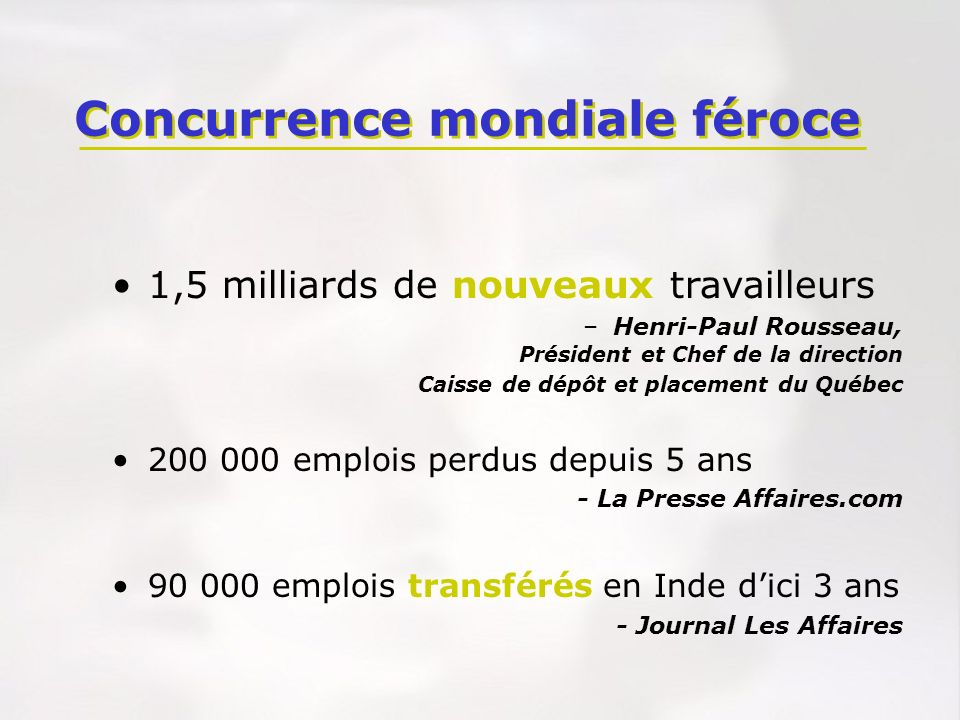 Concurrence mondiale féroce