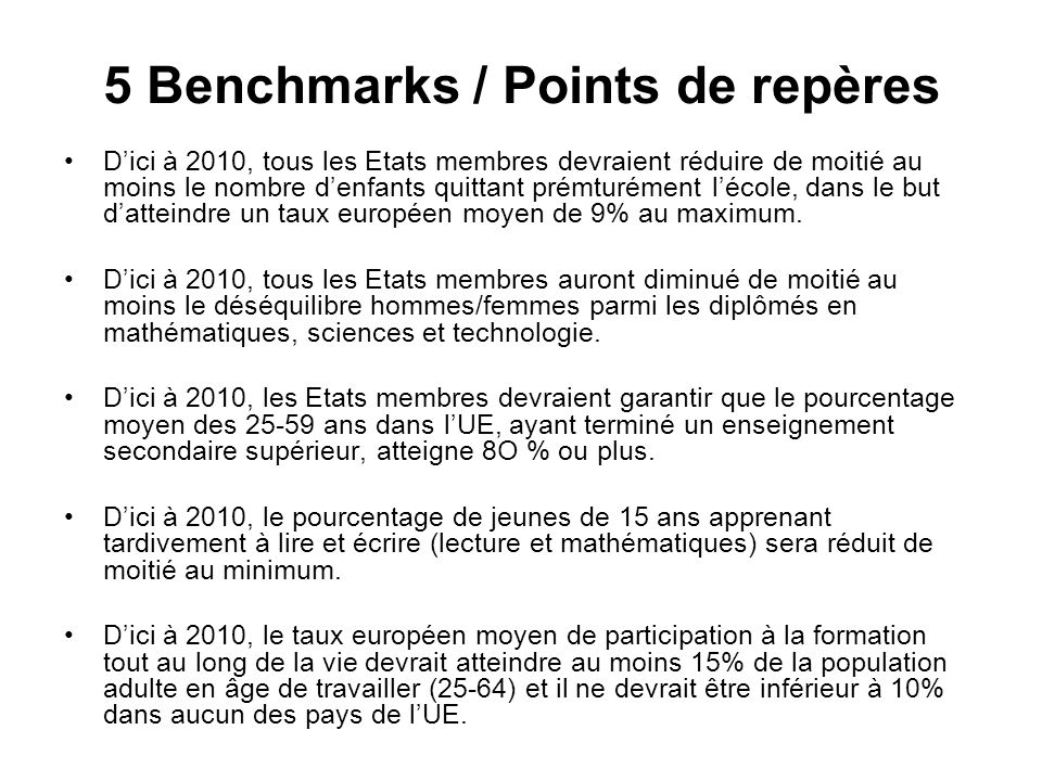 5 Benchmarks / Points de repères