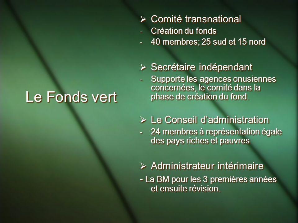 Le Fonds vert Comité transnational Secrétaire indépendant