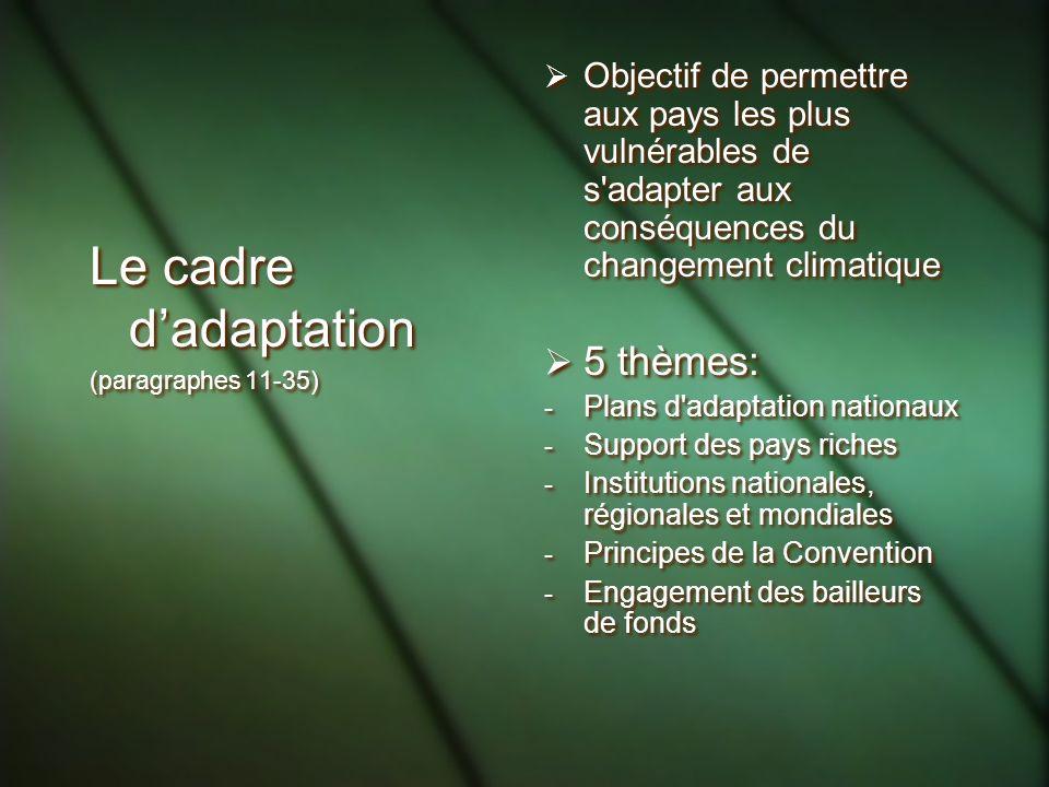 Le cadre d'adaptation 5 thèmes: