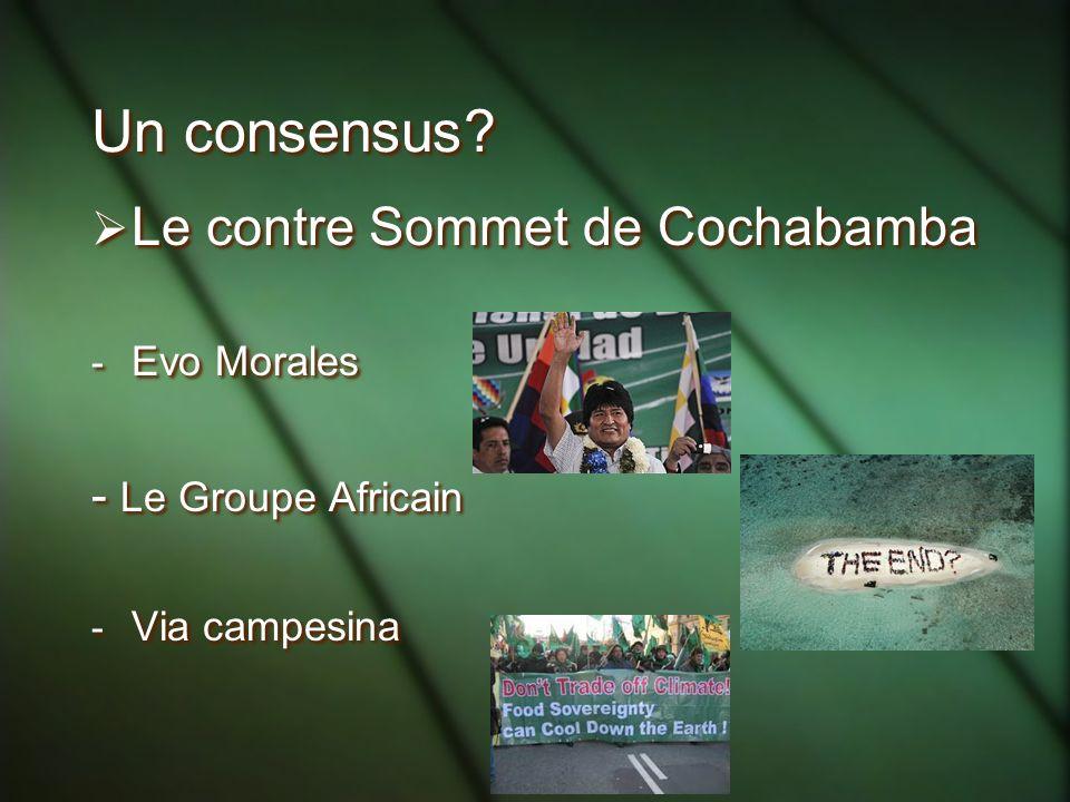 Un consensus Le contre Sommet de Cochabamba - Le Groupe Africain