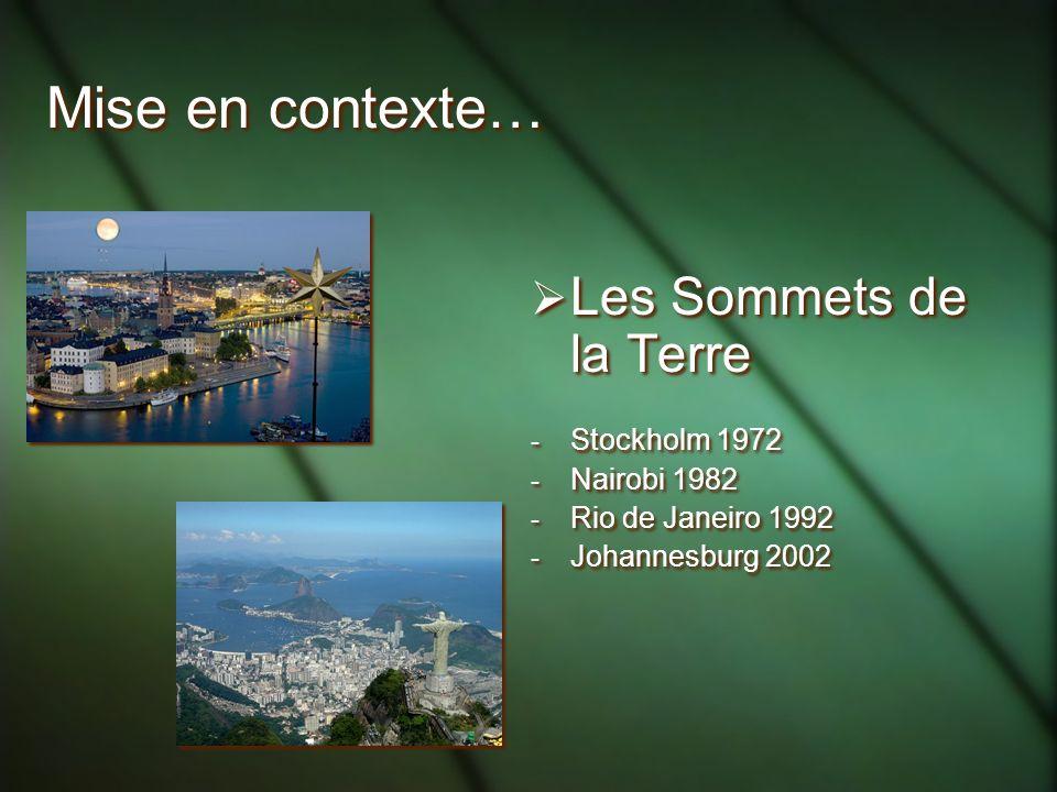 Mise en contexte… Les Sommets de la Terre Stockholm 1972 Nairobi 1982