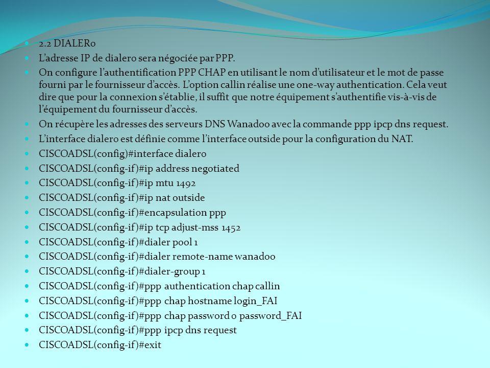 2.2 DIALER0 L'adresse IP de dialer0 sera négociée par PPP.